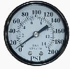 "Pressure Gauge 1/4"" NPT Center Back-mount Gauge 200psi 2"""