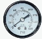 "Pressure Gauge 1/8"" NPT Center Back-mount Gauge 160psi 1.50"""